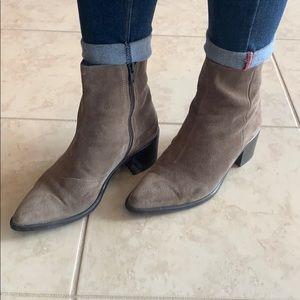 "Brown tan Suede booties.  2"" heel"